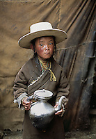 Tibet, Kham - Tibetan nomad boy in Degang Valley, near Litang, 2005.