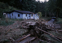 A house sits where two people died from floods as sediment ponds constructed for erosion off of valley fills overflowed in heavy rains. White Oak Creek--flooded 3 or 4 times since 1999.<br /> <br /> WV has always flooded--but with the loss of sediment after forests are cut and the diversion of waters--places are flooding that never have before.