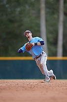 Tampa Bay Rays shortstop Matt Duffy (5) throws to first base during an Instructional League game against the Pittsburgh Pirates on October 3, 2017 at Pirate City in Bradenton, Florida.  (Mike Janes/Four Seam Images)