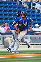 Biloxi Shuckers first baseman Nick Ramirez (14) scores a run during the first game of a double header against the Pensacola Blue Wahoos on April 26, 2015 at Pensacola Bayfront Stadium in Pensacola, Florida.  Biloxi defeated Pensacola 2-1.  (Mike Janes/Four Seam Images)
