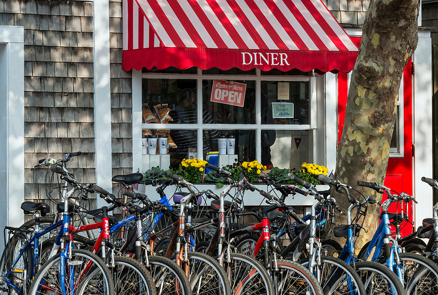 Charming diner with bicycles, Edgartown, Martha's Vineyard, Massachusetts, USA.
