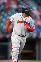 Boston Red Sox Pablo Sandoval (41) runs to first base while on rehab assignment with the Pawtucket Red Sox during a game against the Buffalo Bisons on May 19, 2017 at Coca-Cola Field in Buffalo, New York.  Buffalo defeated Pawtucket 7-5 in thirteen innings.  (Mike Janes/Four Seam Images)