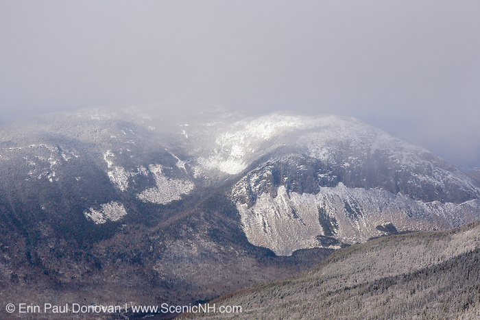 Appalachian Trail - Cannon Mountain from along the Franconia Ridge Trail, near Mount Lincoln, in the New Hampshire White Mountains during winter conditions.