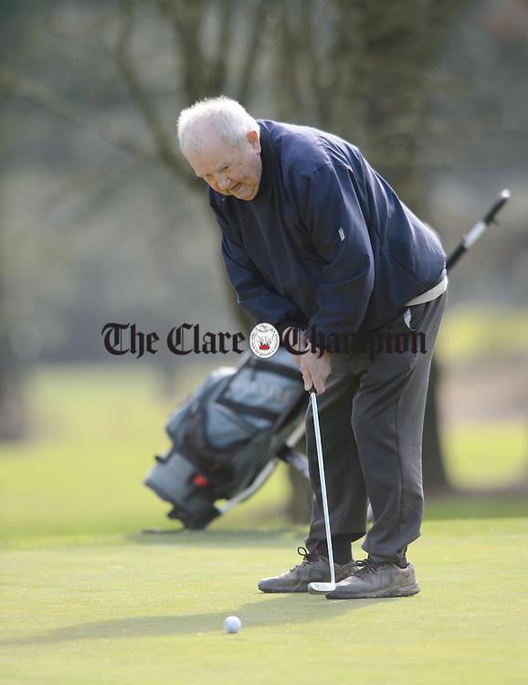 Jim Larkin putting at Shannon Golf Club. Photograph by John Kelly.
