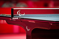 26th August 2021; Tokyo, Japan;  Table Tennis table with logo : Men's Singles Class9 Preliminary match <br /> at the Tokyo Metropolitan Gymnasium <br /> during Tokyo 2020 Paralympic Games in Tokyo, Japan.