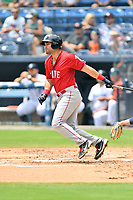 Greenville Drive Dom D'Allessandro (17) swings at a pitch during a game against the Asheville Tourists on July 18, 2021 at McCormick Field in Asheville, NC. (Tony Farlow/Four Seam Images)