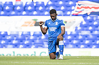 Aristote Nsiala of Ipswich Town takes the knee during Ipswich Town vs Wigan Athletic, Sky Bet EFL League 1 Football at Portman Road on 13th September 2020