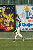 Mooresville Spinners right fielder Caleb Jacobs (25) (Mount Olive) tracks a fly ball during the game against the Concord A's at Moor Park on July 31, 2020 in Mooresville, NC. The Spinners defeated the Athletics 6-3 in a game called after 6 innings due to rain. (Brian Westerholt/Four Seam Images)