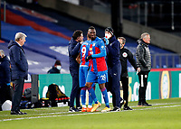 2nd January 2021; Selhurst Park, London, England; English Premier League Football, Crystal Palace versus Sheffield United; Christian Benteke of Crystal Palace injured and substituted for Jordan Ayew of Crystal Palace with Crystal Palace Manager Roy Hodgson looking on