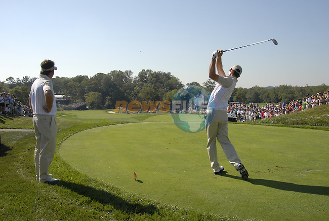 European Team member Padraig Harrington drives off on the 13th tee watched by Graeme McDowell during Practice Day1 of the 37th Ryder Cup at Valhalla Golf Club, Louisville, Kentucky, USA, 17th September 2008 (Photo by Eoin Clarke/GOLFFILE)