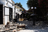 Pictured: One of the main roads of the old town has suffered severe damage in Kos town, Greece.<br /> Re: A 6.4 Richter Scale earthquake has hit the tourist island of Kos in Greece.