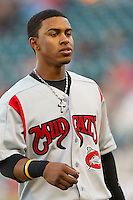Francisco Lindor (12) of the Carolina Mudcats between innings of the game against the Winston-Salem Dash at BB&T Ballpark on April 13, 2013 in Winston-Salem, North Carolina.  The Dash defeated the Mudcats 4-1.  (Brian Westerholt/Four Seam Images)