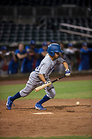 AZL Dodgers pinch hitter Jeremiah Vison (10) lays down a bunt during an Arizona League game against the AZL Indians 2 at Goodyear Ballpark on July 12, 2018 in Goodyear, Arizona. The AZL Indians 2 defeated the AZL Dodgers 2-1. (Zachary Lucy/Four Seam Images)