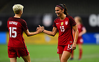 New Orleans, LA - Thursday October 19, 2017: Alex Morgan scores a goal and celebrates with Megan Rapinoe during an International friendly match between the Women's National teams of the United States (USA) and South Korea (KOR) at Mercedes Benz Superdome.