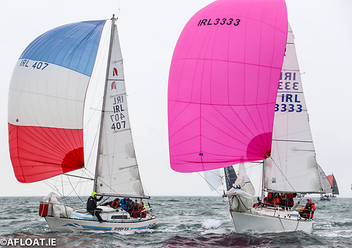 Overall leader Ann Kirwan's Ruffian 23 Bandit (IRL 3333) races downwind against Frank Bradley's Ripples from the Dun Laoghaire Motor Yacht Club at the Irish National Championships on Dublin Bay