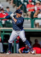 25 February 2019: Atlanta Braves infielder Luis Marte at bat during a pre-season Spring Training game against the Washington Nationals at Champion Stadium in the ESPN Wide World of Sports Complex in Kissimmee, Florida. The Braves defeated the Nationals 9-4 in Grapefruit League play in what will be their last season at the Disney / ESPN Wide World of Sports complex. Mandatory Credit: Ed Wolfstein Photo *** RAW (NEF) Image File Available ***