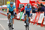 Omar Fraile (ESP) Astana Pro Team and Alejandro Valverde (ESP) Movistar Team cross the finish line at the end of Stage 7 of the Vuelta Espana 2020 running 159.7km from Vitoria-Gasteiz to Villanueva de Valdegovia, Spain. 27th October 2020.  <br /> Picture: Luis Angel Gomez/PhotoSportGomez | Cyclefile<br /> <br /> All photos usage must carry mandatory copyright credit (© Cyclefile | Luis Angel Gomez/PhotoSportGomez)