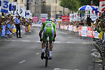Green Jersey Alessandro Petacchi (ITA) Lampre-Farnese Vini powers off the start ramp of Stage 19 of the 2010 Tour de France an individual time trial running 52km from Bordeaux to Pauillac, France. 24th July 2010.<br /> (Photo by Eoin Clarke/NEWSFILE).<br /> All photos usage must carry mandatory copyright credit (© NEWSFILE | Eoin Clarke)