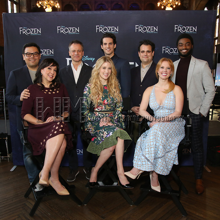 Robert Lopez, Kristen Anderson-Lopez, Michael Grandage, Caissie Levy, John Riddle, Greg Hildreth, Patti Murin and Jelani Alladin attends the press day for 'Frozen' The Broadway Musical on February 13, 2018 at the Highline Hotel in New York City.