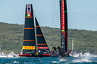 13th March 2021; Waitemata Harbour, Auckland, New Zealand;  Emirates Team New Zealand and Luna Rossa Prada Pirelli Team, race five on day three of the America's Cup presented by Prada.