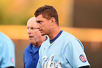 Daytona Cubs outfielder Albert Almora (6) walks to the bench with trainer Pete Fagan as blood drips from his nose after an at bat during a game against the Dunedin Blue Jays on April 14, 2014 at Florida Auto Exchange Stadium in Dunedin, Florida.  Almora was taken out of the game as Dunedin defeated Daytona 1-0  (Mike Janes/Four Seam Images)