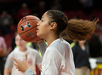 COLLEGE PARK, MD - NOVEMBER 20: Shakira Austin #1 of Maryland before the game during a game between George Washington University and University of Maryland at Xfinity Center on November 20, 2019 in College Park, Maryland.
