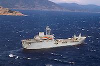 """- Royal Navy, the amphibious assault ship """"Sir Galahad"""" to wide of Cape Teulada during NATO exercises....- Royal Navy, la nave da assalto anfibio """"Sir Galahad"""" al largo di Capo Teulada durante esercitazioni NATO"""