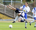 08/08/2009  Copyright  Pic : James Stewart.sct_16_dundee_v_morton  .COLIN MCMENAMIN IS SENT FLYING BY DAVID MCGREGOR....James Stewart Photography 19 Carronlea Drive, Falkirk. FK2 8DN      Vat Reg No. 607 6932 25.Telephone      : +44 (0)1324 570291 .Mobile              : +44 (0)7721 416997.E-mail  :  jim@jspa.co.uk.If you require further information then contact Jim Stewart on any of the numbers above.........