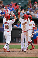 Memphis Redbirds right fielder Nick Martini (16) is congratulated by a teammate as he crosses home plate after hitting a home run in the bottom of the eighth inning during a game against the Iowa Cubs on May 29, 2017 at AutoZone Park in Memphis, Tennessee.  Memphis defeated Iowa 6-5.  (Mike Janes/Four Seam Images)
