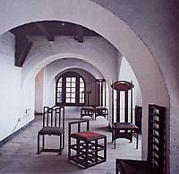 Chair designs by Charles Rennie Mackintosh in Glasgow School of Art, Barcelona, Spain.