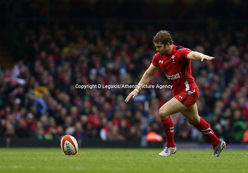 Pictured: Leigh Halfpenny takes a kick Saturday 14 March 2015<br /> Re: RBS Six Nations, Wales v Ireland at the Millennium Stadium, Cardiff, south Wales, UK.
