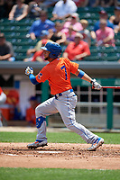 Syracuse Mets Gregor Blanco (7) at bat during an International League game against the Indianapolis Indians on July 17, 2019 at Victory Field in Indianapolis, Indiana.  Syracuse defeated Indianapolis 15-5  (Mike Janes/Four Seam Images)