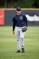 Pulaski Yankees pitcher Brett Morales (34) warms up before a game against the Greeneville Reds on July 27, 2018 at Pioneer Park in Tusculum, Tennessee.  Greeneville defeated Pulaski 3-2.  (Mike Janes/Four Seam Images)