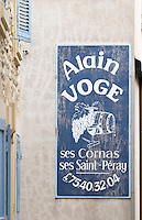 winery sign dom a voge cornas rhone france