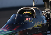 Feb. 16, 2013; Pomona, CA, USA; NHRA top fuel dragster driver Terry McMillen during qualifying for the Winternationals at Auto Club Raceway at Pomona.. Mandatory Credit: Mark J. Rebilas-