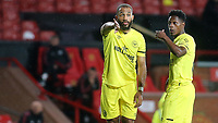 Bryan Mbeumo and Joel Valencia of Brentford discuss their options as they get ready to take a free-kick just outside the Manchester United penalty area during Manchester United vs Brentford, Friendly Match Football at Old Trafford on 28th July 2021