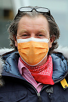 15th May 2020, Muenchen-Riem racecourse, Munich, Germany. Flat racing;  Trainer John Hillis wearing protective mask
