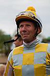 AUG 3,2014:Skyway,ridden by Stewart Elliot,wins the Best Pal Stakes at Del Mar in Del Mar,CA. The winning jockey,Stewart Elliot Kazushi Ishida/ESW/CSM