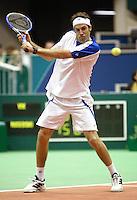 20-2-06, Netherlands, tennis, Rotterdam, ABNAMROWTT, Rusedski in action against Vik