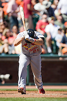 12 April 2008: #21 Jason LaRue of the Cardinals reacts at bat during the St. Louis Cardinals 8-7 victory over the San Francisco Giants at the AT&T Park in San Francisco, CA.