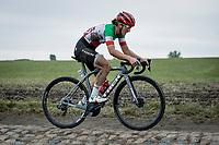 Elisa Longo Borghini (ITA/Trek Segafredo)<br /> <br /> Inaugral Paris-Roubaix Femmes 2021 (1.WWT)<br /> One day race from Denain to Roubaix (FRA) (116.4km)<br /> <br /> ©kramon