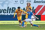20.02.2021, xtgx, Fussball 3. Liga, FC Hansa Rostock - SV Waldhof Mannheim, v.l. Mohamed Gouaida (Mannheim, 18), Tobias Schwede (Rostock) Zweikampf, Duell, Kampf, tackle<br /> <br /> (DFL/DFB REGULATIONS PROHIBIT ANY USE OF PHOTOGRAPHS as IMAGE SEQUENCES and/or QUASI-VIDEO)<br /> <br /> Foto © PIX-Sportfotos *** Foto ist honorarpflichtig! *** Auf Anfrage in hoeherer Qualitaet/Aufloesung. Belegexemplar erbeten. Veroeffentlichung ausschliesslich fuer journalistisch-publizistische Zwecke. For editorial use only.
