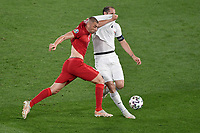 Burak Yilmaz of Turkey and Giorgio Chiellini of Italy during the Uefa Euro 2020 Group stage - Group A football match between Turkey and Italy at stadio Olimpico in Rome (Italy), June 11th, 2021. Photo Andrea Staccioli / Insidefoto