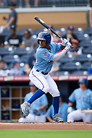 Mallex Smith (6) of the Durham Bulls at bat against the Buffalo Bisons at Durham Bulls Athletic Park on April 30, 2017 in Durham, North Carolina.  The Bisons defeated the Bulls 6-1.  (Brian Westerholt/Four Seam Images)