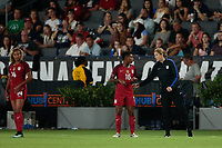 Carson, CA - Thursday August 03, 2017: Taylor Smith, Jill Ellis during a 2017 Tournament of Nations match between the women's national teams of the United States (USA) and Japan (JPN) at the StubHub Center.