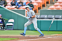 North Carolina Tar Heels right fielder Caleb Roberts (11) flips his bat after being walked during a game against the Clemson Tigers at Doug Kingsmore Stadium on March 9, 2019 in Clemson, South Carolina. The Tigers defeated the Tar Heels 3-2 in game one of a double header. (Tony Farlow/Four Seam Images)