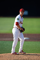 Johnson City Cardinals starting pitcher Colin Schmid (11) delivers a pitch during a game against the Danville Braves on July 29, 2018 at TVA Credit Union Ballpark in Johnson City, Tennessee.  Johnson City defeated Danville 8-1.  (Mike Janes/Four Seam Images)