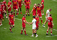 Marcus Smith (Harlequins) of England shakes hands with the Canada players after the Autumn International match between England and Canada at Twickenham Stadium, London, England on 10 July 2021. Photo by Liam McAvoy.