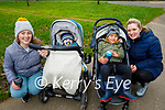 Enjoying a stroll in the Tralee town park on Monday, l to r: Muireann Deane, Oran O'Sullivan, Kai and Emma King