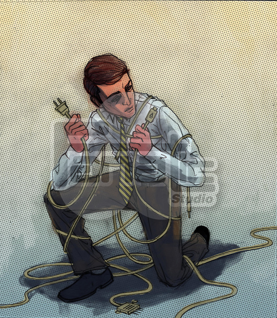 Conceptual illustration of technician tangled in wire depicting technical difficulties